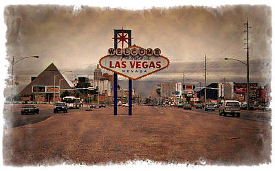 Photograph - Welcome To Las Vegas Sign 1997 - Impressions by Ricky Barnard
