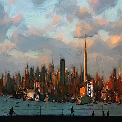 Flare Painting - Welcome To New York by Steve K