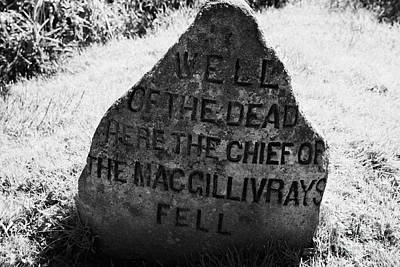 well of the dead and clan macgillivray memorial stone on Culloden moor battlefield site highlands sc Art Print by Joe Fox