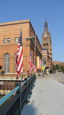 Photograph - Wells Street Theater District City Hall And Flags by Anita Burgermeister
