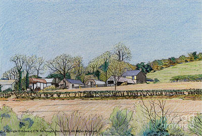 Shed Mixed Media - Welsh Hill Farm Painting by Edward McNaught-Davis