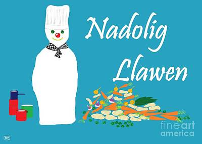 Digital Art - Welsh Snowman Chef by Barbara Moignard