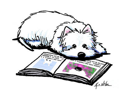 Westie Digital Art - Wendell Loves Books by Kim Niles