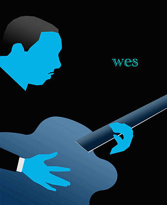 Digital Art - Wes Montgomery Blue by Victor Bailey