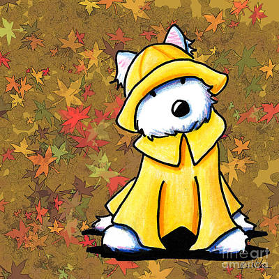 Rain Drawing - West Coast Autumn Westie by Kim Niles