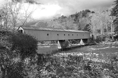 Photograph - West Cornwall Connecticut Covered Bridge Black And White by Glenn Gordon