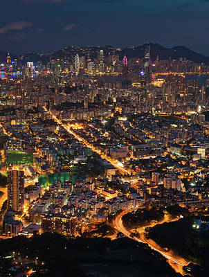 West Hongkong At Night Art Print by Coolbiere Photograph
