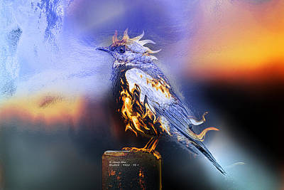 Digital Art - Western Bluebird Fire And Ice by James Ahn