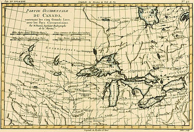 Geneva Drawing - Western Canada And The Five Great Lakes by Guillaume Raynal