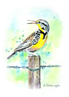 Meadowlark Wall Art - Painting - Western Meadowlark by Arline Wagner