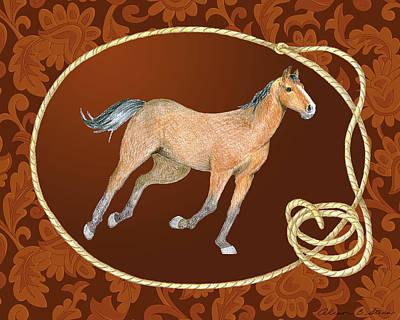 Western Roundup Running Horse Art Print