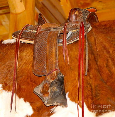 Photograph - Western Saddle Over Cow Hide by Pamela Walrath