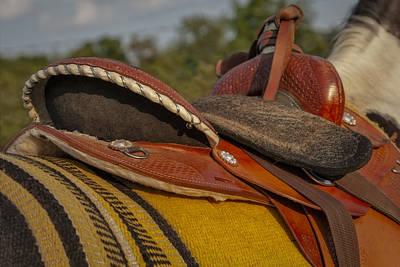 Pinto Horses Photograph - Western Saddle by Susan Candelario