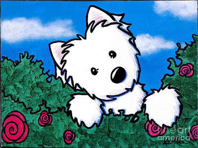 White Terrier Mixed Media - Westie In Roses by Kim Niles