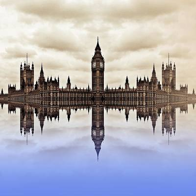Westminster On Water Art Print by Sharon Lisa Clarke