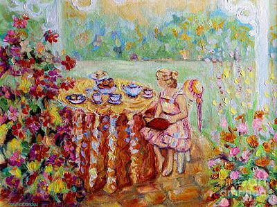 Tea For One Painting - Westmount Garden Montreal City Scene by Carole Spandau