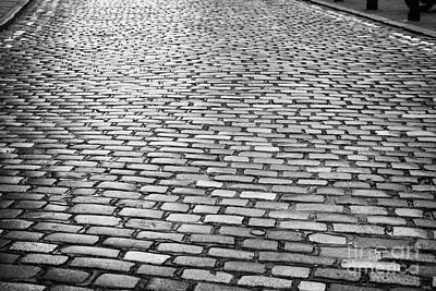 Wet Cobblestoned Huntly Street In The Union Street Area Of Aberdeen Scotland Art Print by Joe Fox
