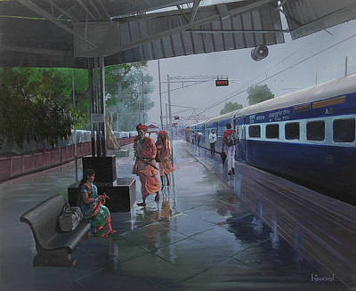 Painting - Wet Platform by Bijay Biswaal