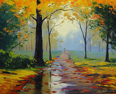Maple Tree Painting - Wet Road by Graham Gercken