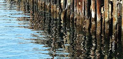 Digital Art - Wharf Reflections IIi by Jim Pavelle