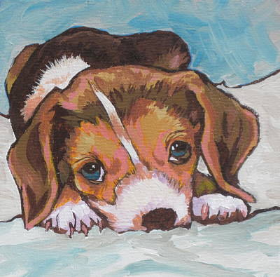 Beagle Puppies Painting - What Did I Do by Sandy Tracey
