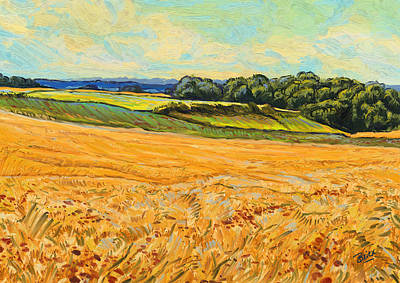 Briex Painting - Wheat Field In Limburg by Nop Briex