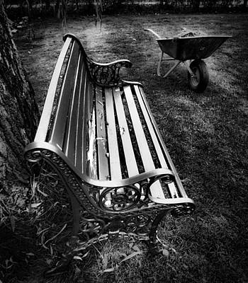 Photograph - Wheelbarrow And Bench by Michael Canning