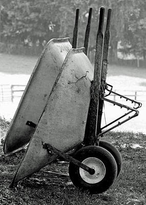 Black White Photograph - Wheelbarrows by Lisa Phillips