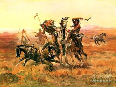 Painting - When Blackfeet Meet Sioux by Reproduction