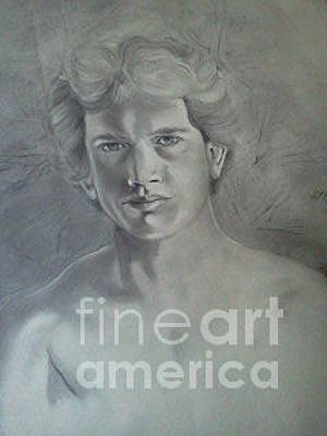 Drawing - When I Drew Myself At 20 by Randy Burns