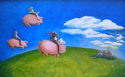 Flying Pig Painting - When Pigs Sigh by Sharon Kime