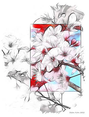Abstract Expressionism Drawing - When The Almond Trees Are In Blossom  by Steve K