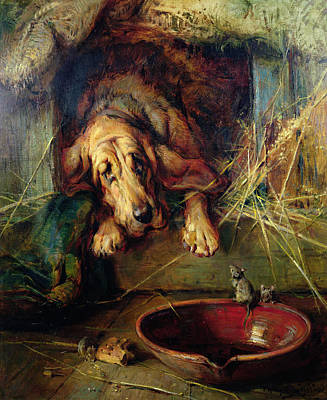 The Dog House Painting - When The Cat's Away The Mice Will Play  by Philip Eustace Stretton