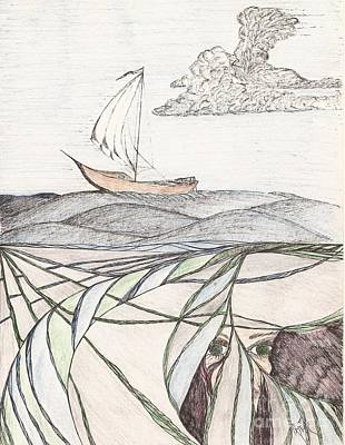 Drawing - Where The Deep Currents Run... - Sketch by Robert Meszaros