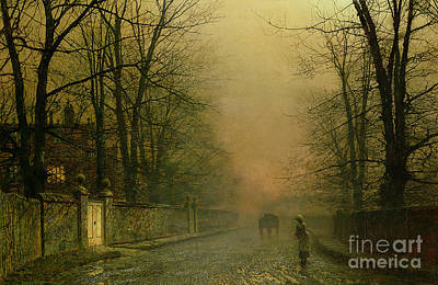 Roadside Painting - Where The Pale Moonbeams Linger  by John Atkinson Grimshaw
