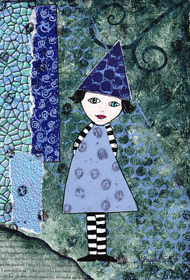 Whimsical Blue Girl Mixed Media Collage  Art Print by Karen Pappert