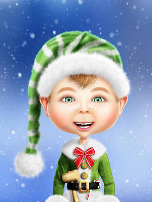 Whimsical Christmas Elf Original by Bill Fleming