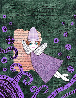 Whimsical Mixed Media - Whimsical Purple Winged Girl Mixed Media Collage by Karen Pappert