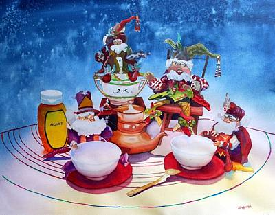 Silver Tea Pot Painting - Whimsy - High Tea by Gerald Carpenter