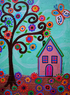Mexican Town Painting - Whimsyland by Pristine Cartera Turkus