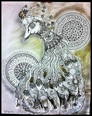 Whimsypunk Peacock Art Print