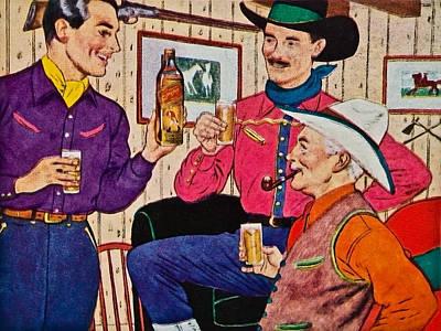 Whiskey Advertisement Art Print by Susan Leggett