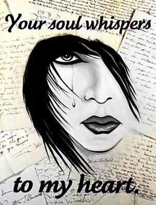 Tears Drawing - Whispering Soul by Barbie Guitard