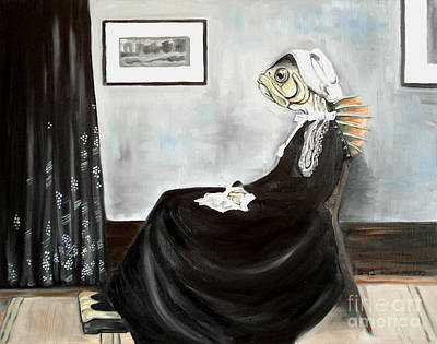 Whistler's Mother As A Fish Art Print by Ellen Marcus