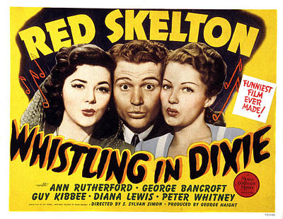 Whistling In Dixie, Ann Rutherford, Red Art Print