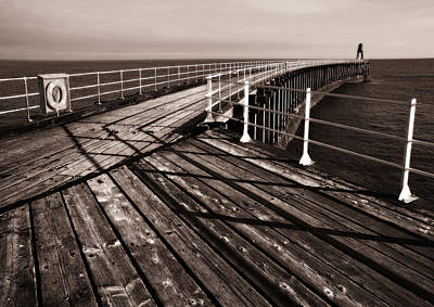 Whitby Pier  Art Print by Stephen  Wakefield
