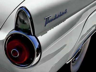 Chrome Wall Art - Digital Art - White 1955 T-bird by Douglas Pittman