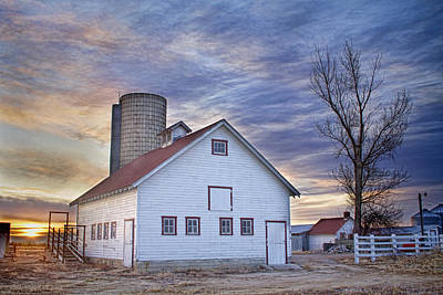 Barns Photograph - White Barn Sunrise by James BO  Insogna