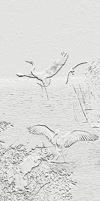 Digital Art - White Birds by Francesa Miller