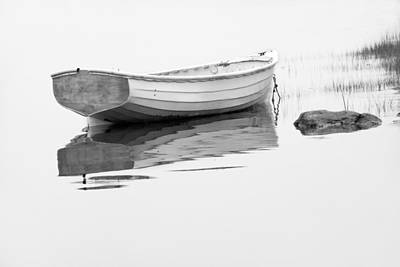 Mistletoe - White Boat anchored on a foggy morning in Maine by Randall Nyhof